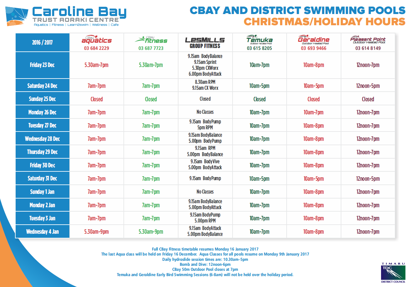 Christmas new year holiday hours caroline bay pool Canterbury swimming pool opening hours